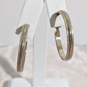 Large Vintage Gold & Silver Hoop Clip Earrings